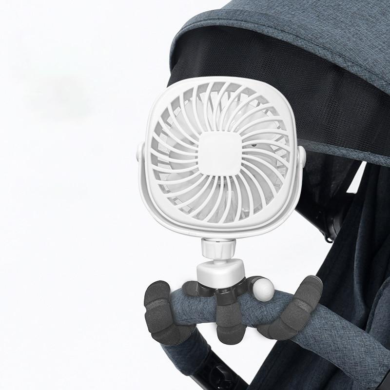Mini ventilador portátil Personal para silla de bebé de 1200mAh, ventilador portátil para cama de bebé, ventilador para asiento de coche, ventilador operado por batería recargable por USB