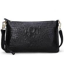 100% Cowhide Genuine Leather Crocodile Women Messenger Bags Fashion Shoulder Bags For Women Small Handbags Clutch Purse Female