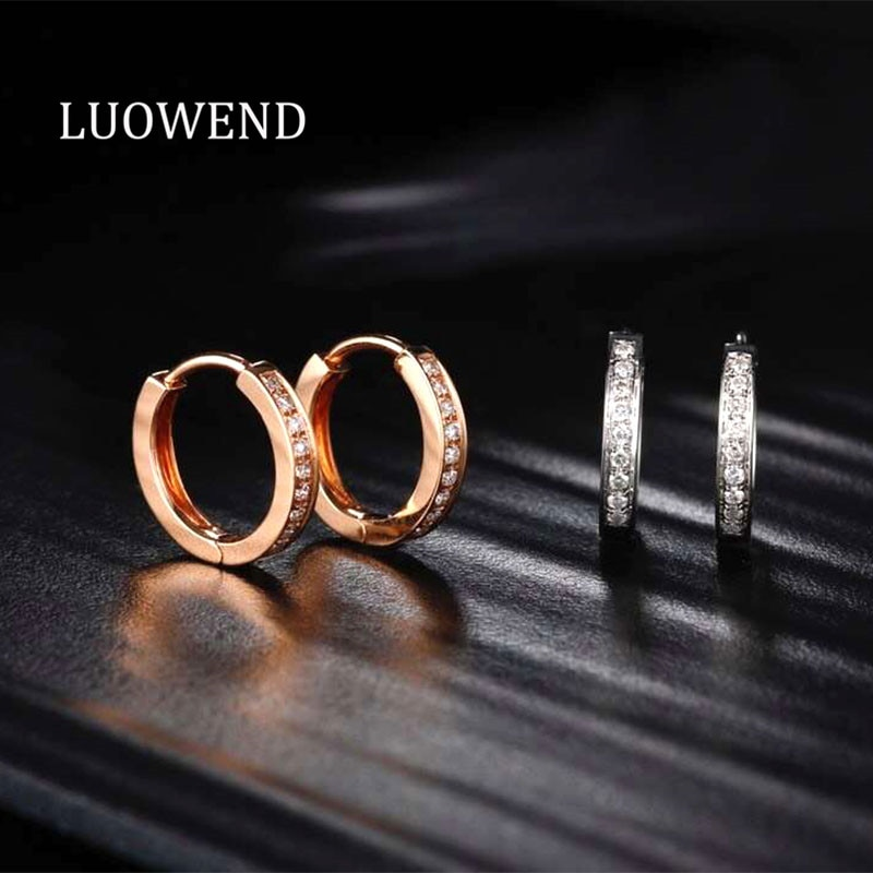 Promo LUOWEND 18K Solid White/Rose Gold (AU750) Women Engagement Hoop Earrings Real Natural Diamond Earring Fashion Design Jewelry
