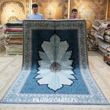Yilong 6 x 9 tapis persans noués à la main bleu Antique turc tapis en soie (YWX128A)