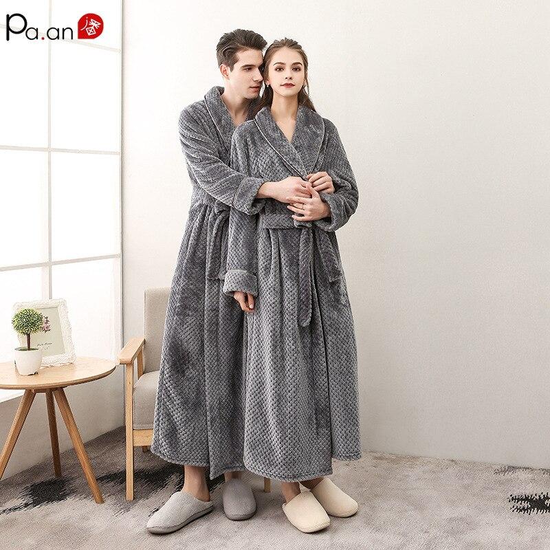 Pa. Un clásico traje de baño grueso vestido de terciopelo cálido baño con cinturón bolsillo oculto pareja desgaste regalo de San Valentín conjunto