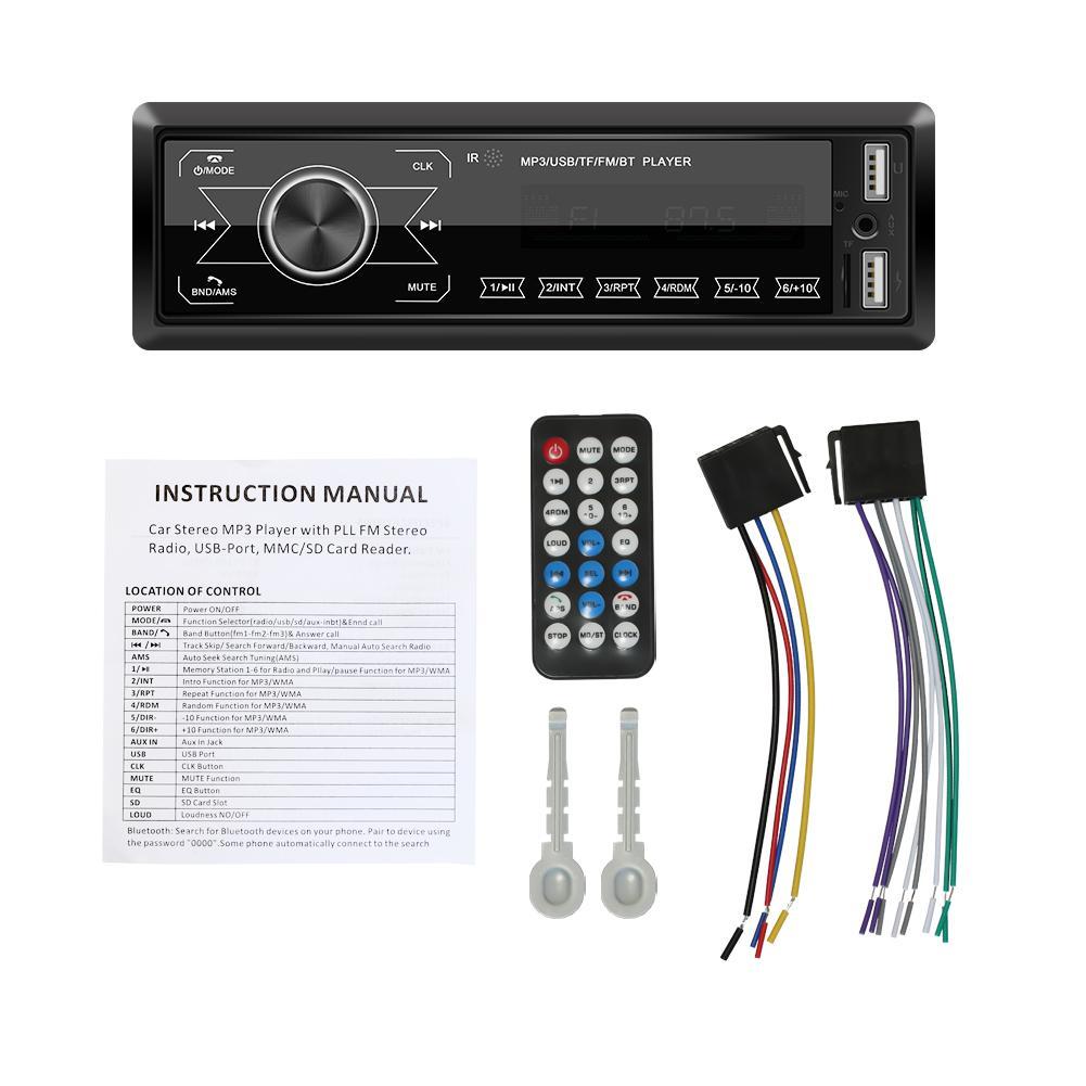 Radio de coche 1 DIN Audio de coche estéreo Bluetooth Auto Radio USB AUX reproductor de MP3 pantalla táctil reproductor Multimedia de coche Control remoto