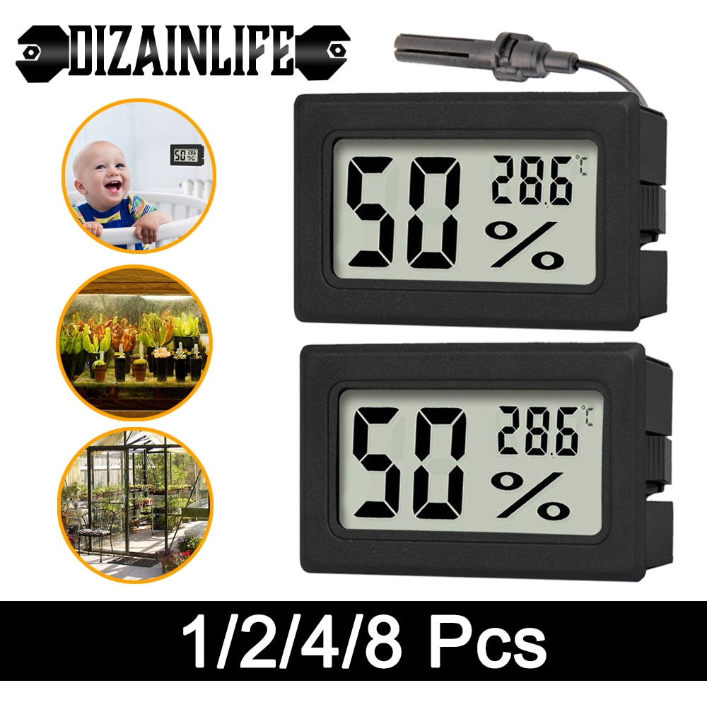 Termómetro preto-higrômetro digital lcd sensor de temperatura interior medidor de umidade termômetro higrômetro medidor frigorífico termômetros