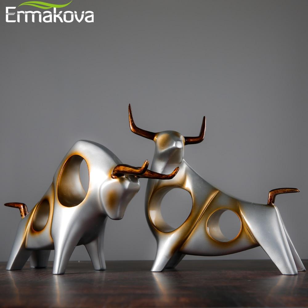 ERMAKOVA الماشية تمثال Ox ديكور المنزل غرفة المعيشة الثور النحت النبيذ التلفزيون خزانة زخرفة الحرف مجردة الحيوان تمثال