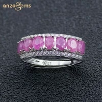 anzogems african natural ruby ring 925 sterling silver 1 55ct red gemstone fine jewelry for womens row band ring classic style