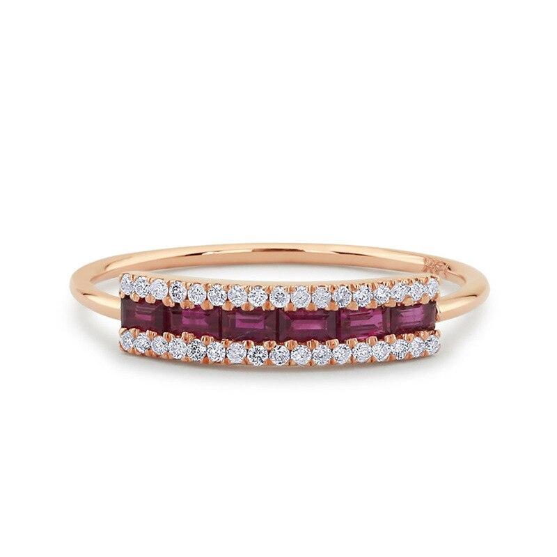 Anillo elegante de Zirconia cúbica para mujer, anillo de compromiso de oro rosa/plata, anillo de compromiso para boda