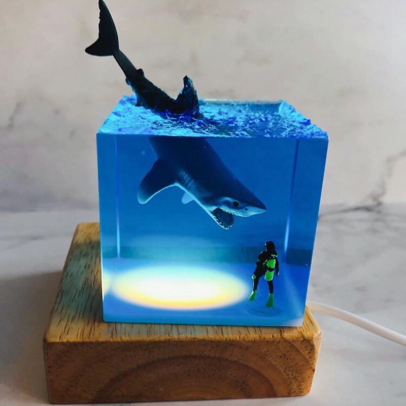ثلاثية الأبعاد LED ضوء الليل القرش غواص الديكور الجدة هدية للأطفال غرفة نوم الطفل غرفة ديكور USB السرير الجدول مصباح للمنزل