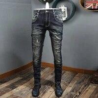 autumn newly fashion vintage men jeans high quality retro black blue ripped denim trousers streetwear hip hop biker pants homme