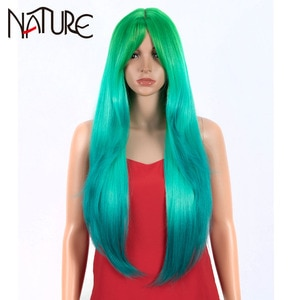Nature Wig Long Straight Wig With Bangs Synthetic Wigs For Women 32 Inch Heat Resistant Ombre Rainbow Green Wigs Cosplay Hair