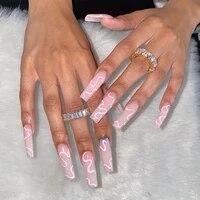 24pcs detachable pink long coffin false nails wearable rhinestone gradiant ballerina design fake nails full cover press on nail