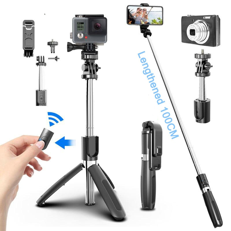 Wireless bluetooth Selfie Stick Tripod Foldable Tripod Monopods Universal For iphone Samsung S20 For Gopro Sports Action Camera
