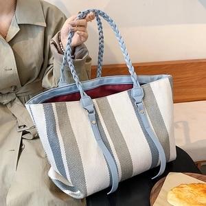 High Capacity Big Stripe Handbag Purses Weave Handle for Women 2021 Winter Fashion Trends Brand Female Travel Shoulder Bag