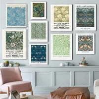 william morris canvas print the victoria and albert museum exhibition poster flower pattern art nouveau painting wall decor