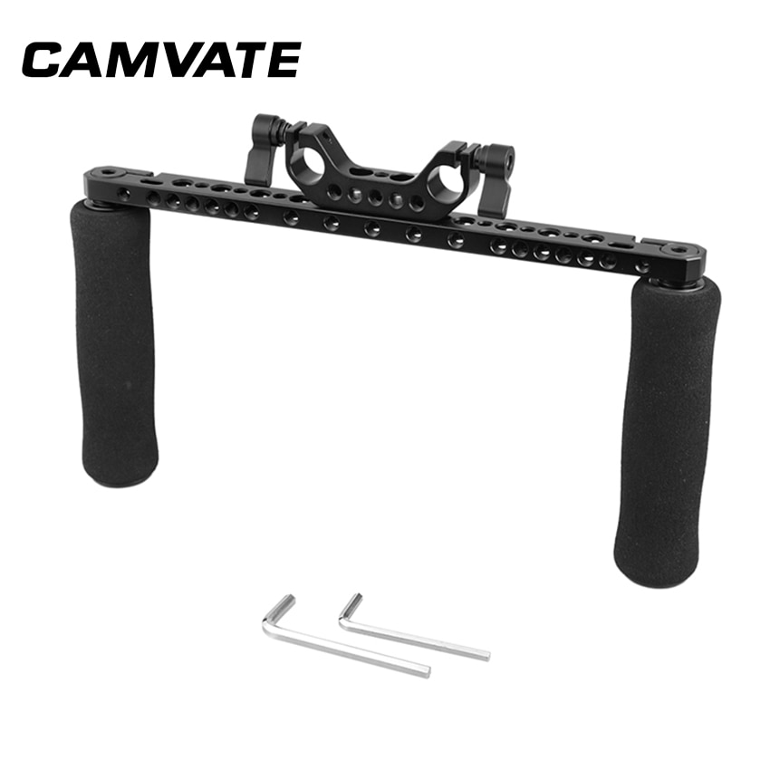 Empuñaduras de esponja de CAMVATE con barra de queso cruzada y adaptador de abrazadera de doble varilla de 15mm para cámara DSLR equipo de hombro C2253