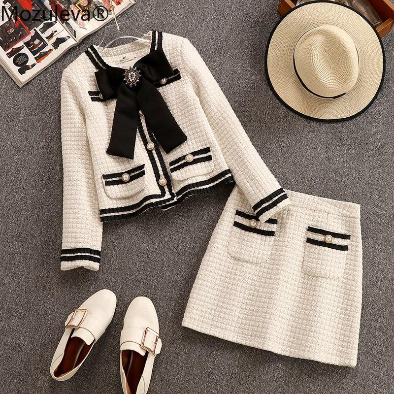 Moluleva outono inverno ternos de lã feminino duas peças conjunto miçangas grande bowknot tweed casaco curto + cintura alta mini saia bolso