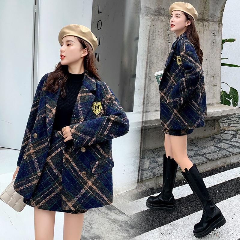 winter warm wool tweed two piece set women thicken jacket coat plaid a-line autumn skirt suit cashmere outwear blazer F962