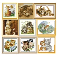 cat family cross stitch kits 11ct14ct animals printed pattern crafts chinese needlework diy counted embroidery accessories decor