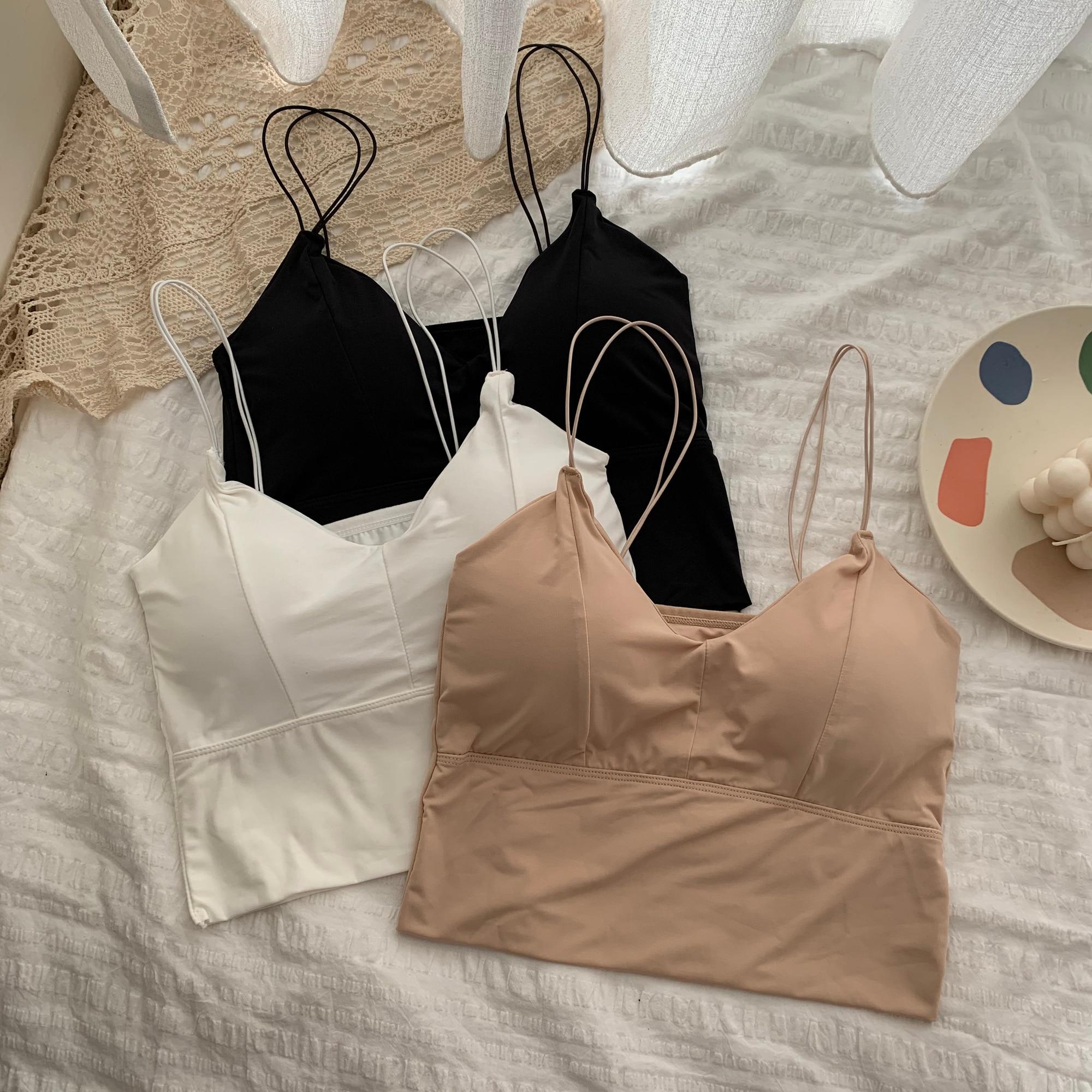 Bra Underwear Vest Girls Summer Ice Silk Beautiful Back Wrapped Chest Bottomed Vest Bra Anti Light I