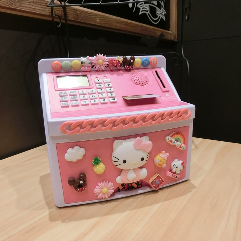 Máquina ATM, hucha Heloo Kitty Doraemon, Banco de dinero automático para colección de dinero para niños, caja de contraseña inteligente, caja de seguridad