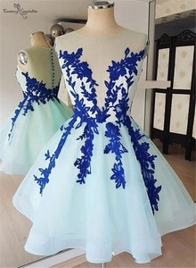 Lace Homecoming Dresses 2020 Appliques O-Neck Button Illusion Short Prom Party Gowns Graduation Dress Cheap