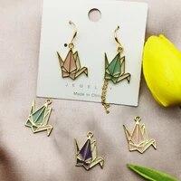 10pcs transparent drop oil thousand paper crane enamel charms gold color metal pendants fit jewelry earring bracelet diy finding
