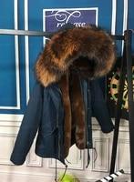 brownblue elegant real fur hoodies jacket keep warm design