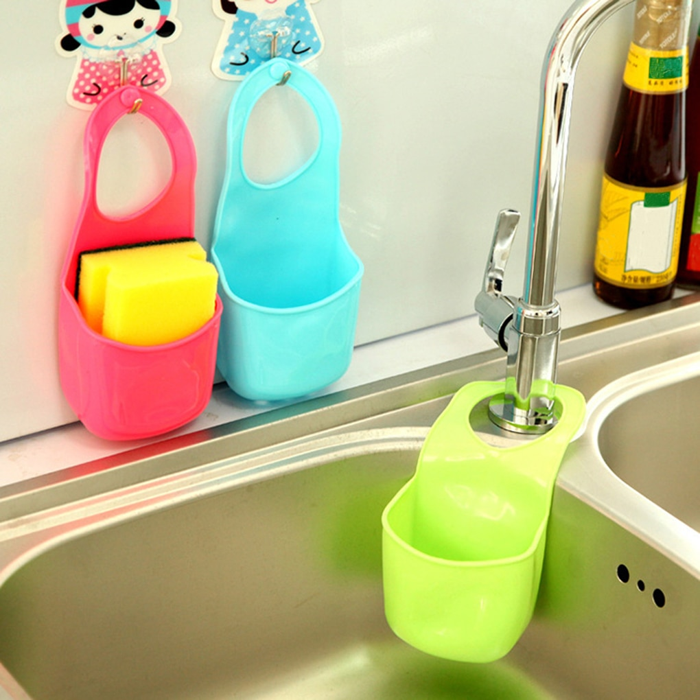 1 Pc Kitchen Bath Rack Snap Fastener Sink Hanging Storage Bag Basket Organizer Bathroom Box Drain Faucet Sponge Holder Gadgets