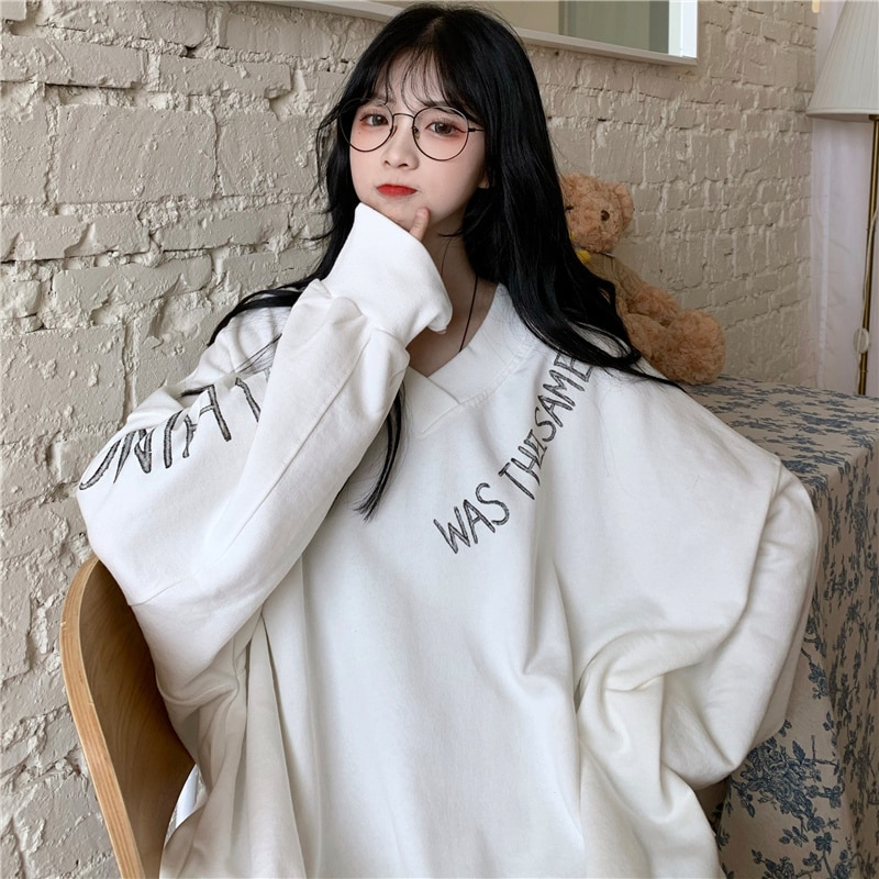 Hong Kong Style Chic Best-Selling Sweatshirt Women's Loose Korean Style Ins Idle Style BF Thin Vinta