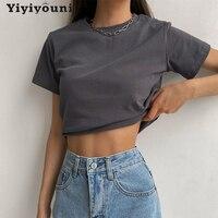 Однотонная Повседневная Базовая футболка Yiyiyouni, женская летняя хлопковая футболка с коротким рукавом, женские корейские Топы черного и бел...