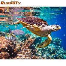 RUOPOTY-cadre peinture à tortue 60x75cm   Kit principal par numéros, coloriage par numéros, tableau mural moderne, Art avec numéros, décors de maison, Art