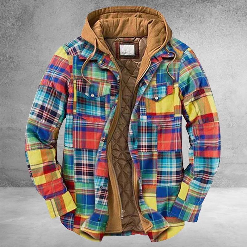 Autumn Winter Men Lapel Digital Printing Single-Breasted Long Sleeve Wool Jacket Streetwear Vintage