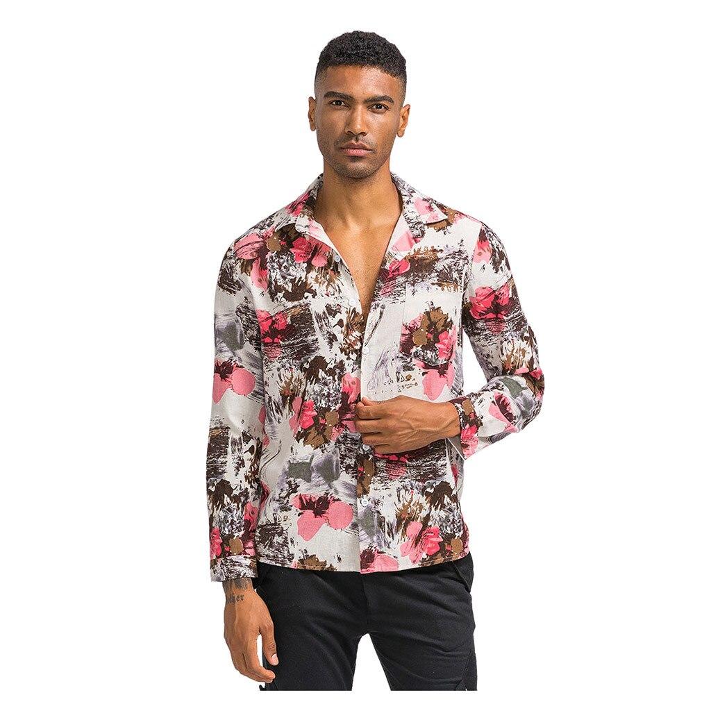 Camisetas De estilo étnico para hombre, Camisas holgadas De manga larga con...