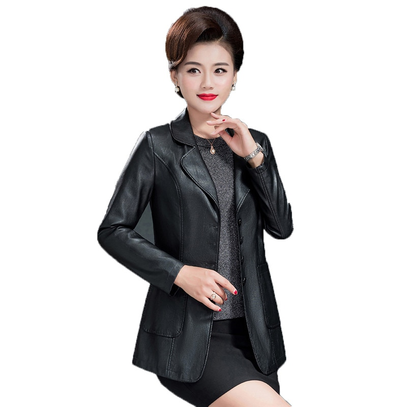 Mom faux leather coat black L-4XL plus size loose PU jacket 2019 autumn winter new korean lapel long sleeve fashion jacket JD617