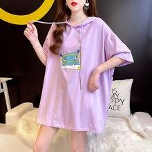 Summer New Korean Style Trendy Hooded Card Printed Women Plus Size Casual Dress Elegant Cloth Haraju