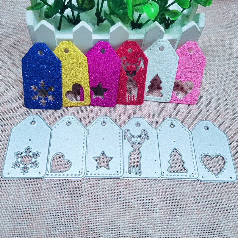 Craft dies 6pcs Christmas Labels Frame Metal Cutting Dies Stencils for DIY Scrapbooking Decoration Embossing Cuts