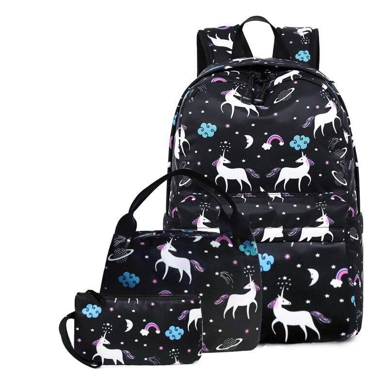 3 قطعة/المجموعة الكرتون الأطفال حقيبة مدرسية الأطفال حقيبة مدرسية ديزي طباعة قماش حقيبة ظهر للفتيات الأزياء الغداء أكياس