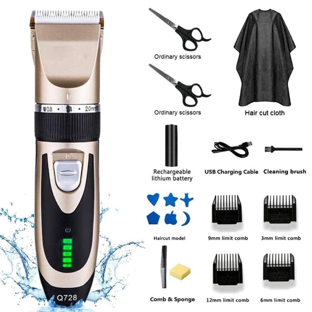 Profissional máquina de cortar cabelo elétrico cabeleireiro conjunto sisores baber casa aparador de cabelo clipper com guia pente escova de limpeza