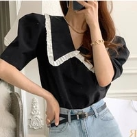 new embroidery lace transparent womens blouses summer tops femme casual women shirt short sleeve girls blouse new blusas