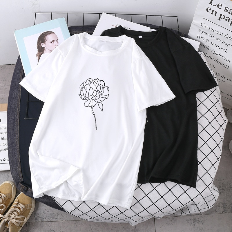 Qrxiaer Young Boy Girls Love Tee Tops Short Sleeve Plant Floral Rose Flower Shirt Couple Shirts Summer Women tshirts