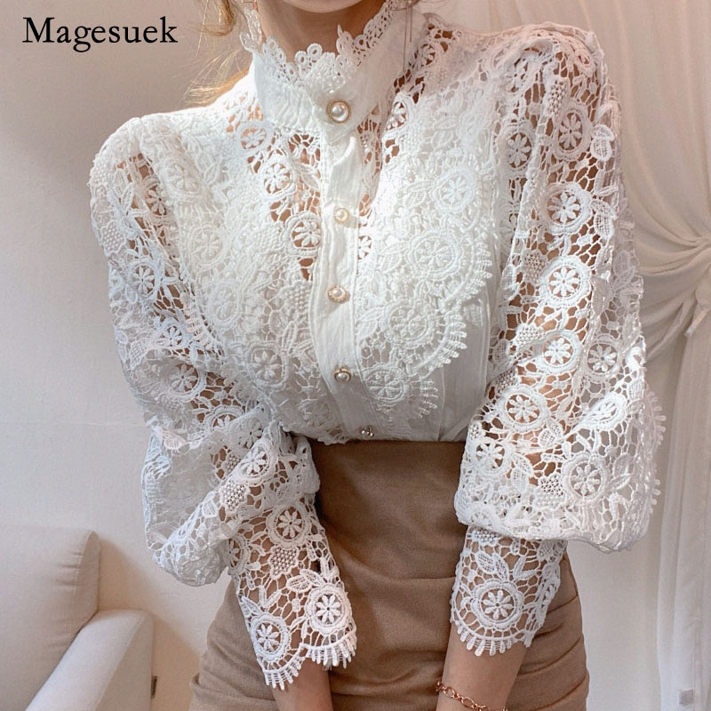 Petal Sleeve Stand Collar Hollow Out Flower Lace Patchwork Shirt Femme Blusas All-match Women Blouse Chic Button White Top 12419