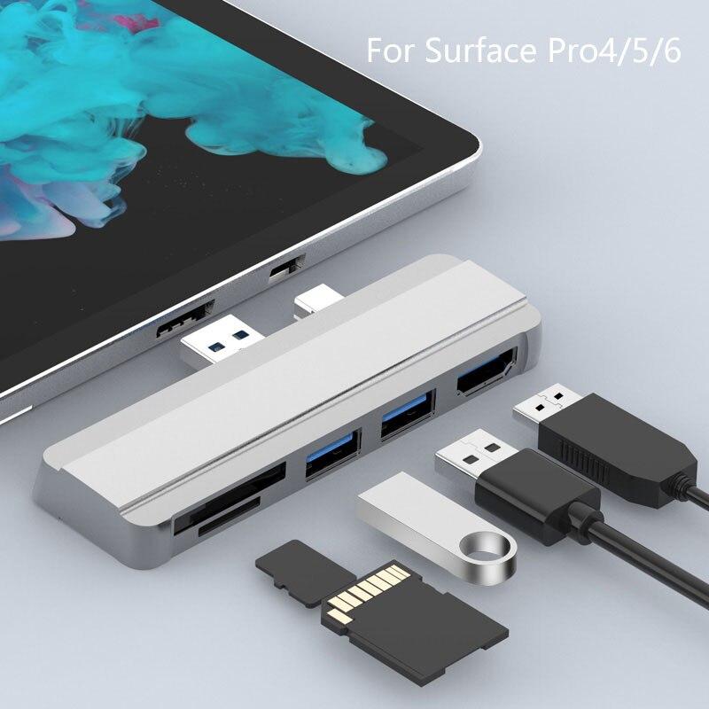 موزع USB متحرك 3.0 محطة إرساء لسطح مايكروسوفت برو 4/5/6 إلى USB3.0 منفذ HDMI متوافق مع SD/TF قارئ الفاصل محول