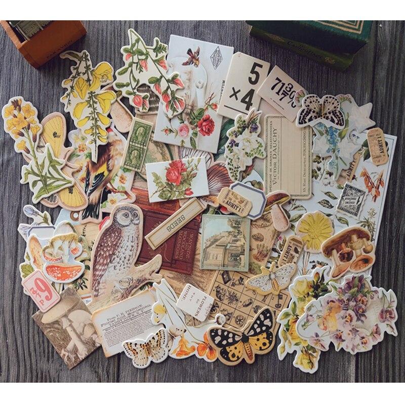 DIY álbum de recortes vintage material no adhesivo tela flor y pájaro serie foto álbum junk diario planificador feliz Decoración