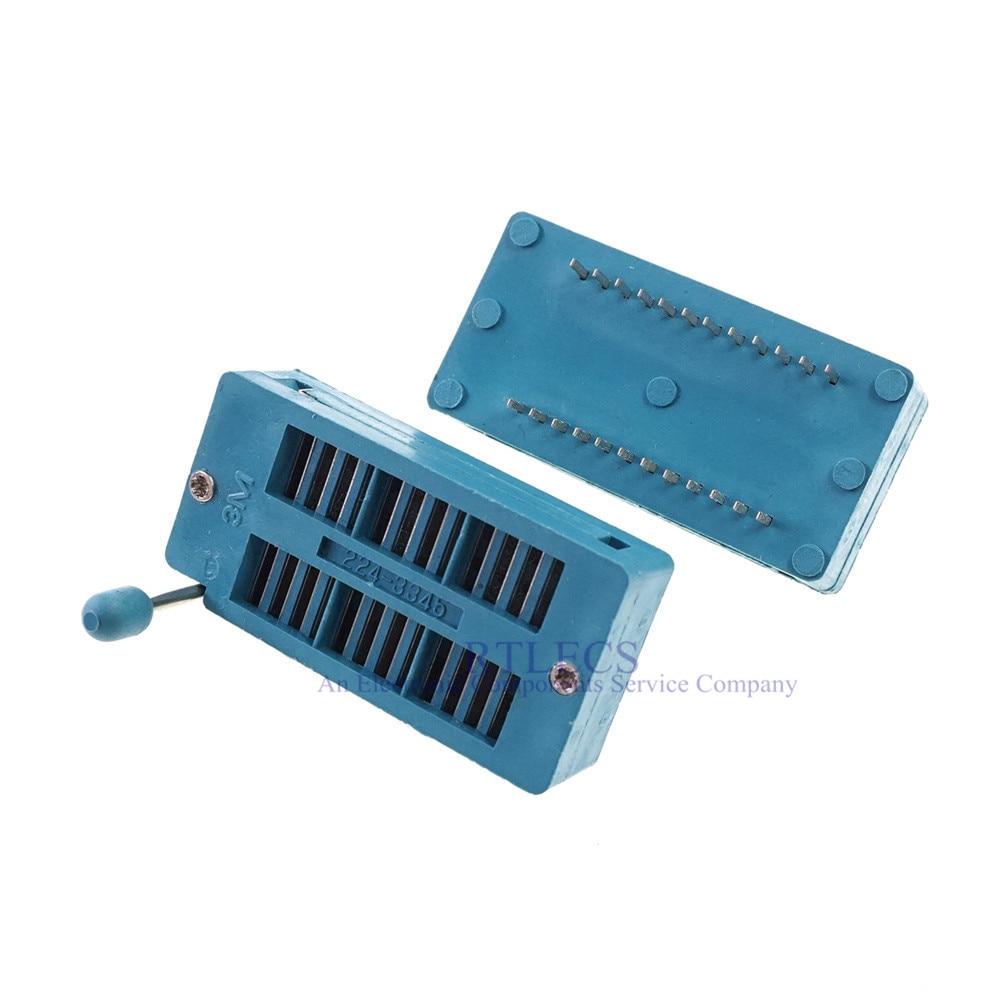 "1 stücke Test IC DIP ZIF ZIP Buchse 24 Pin Pitch 2,54mm Universal Dual Reihe Abstand 15,24mm 0.6 ""Gold platte 2x12 24 Position Grid"