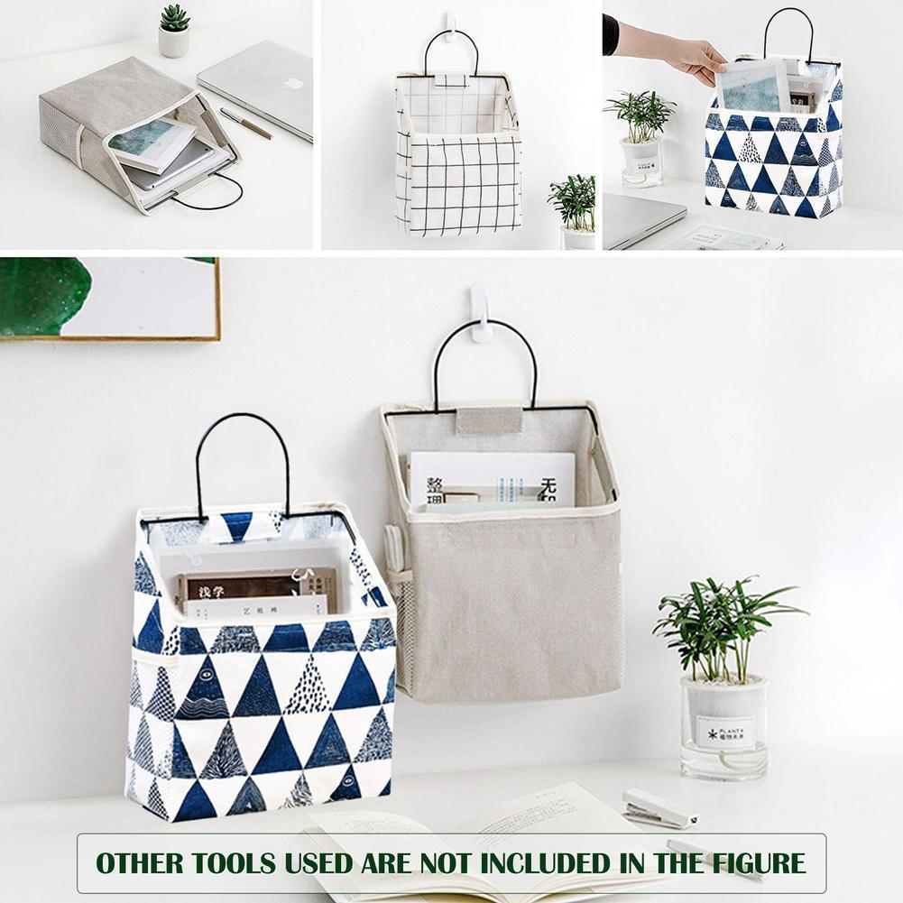 Nordic Multi-color Bedroom Bathroom Kitchen Multifunctional Canvas Wall-mounted Storage Box Bag Door Bag Storage Bag