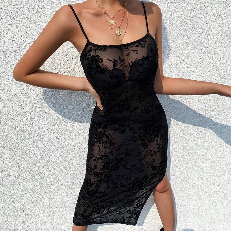 SEASONS Lace transparente Slit Sexy Slip vestido otoño mujer moda fiesta Spaghetti Strap Vestidos trajes de Club Vestidos ASDR80459