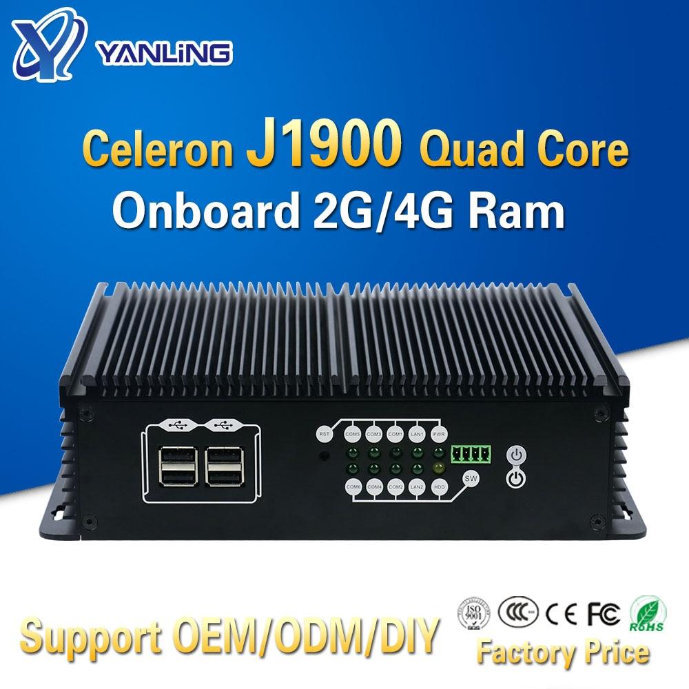 Yanling incorporado computador intel celeron quad core j1900 onboard 4gb ram duplo lan linux fanless mini computador industrial com slot sim