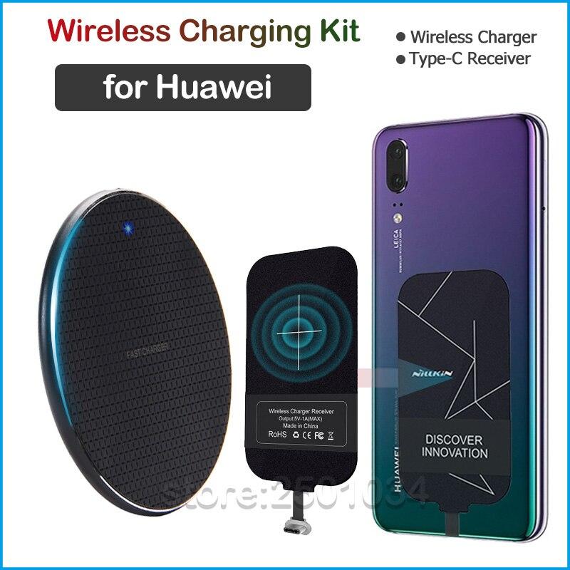 شاحن لاسلكي Qi لهاتف Huawei P9 P10 P20 P30 P40 Lite Pro Plus P Smart Z ، مستقبل USB من النوع C