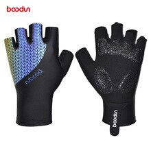 Boodun Light Reflective Cycling Gloves MTB Road Bike Shockproof Luminous Half Finger Mittens Outdoor