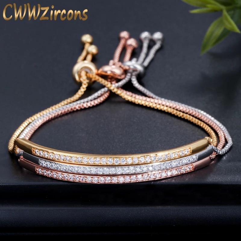CWWZircons Adjustable Bracelet Bangle for Women Captivate Bar Slider Brilliant CZ Rose Gold Color Je
