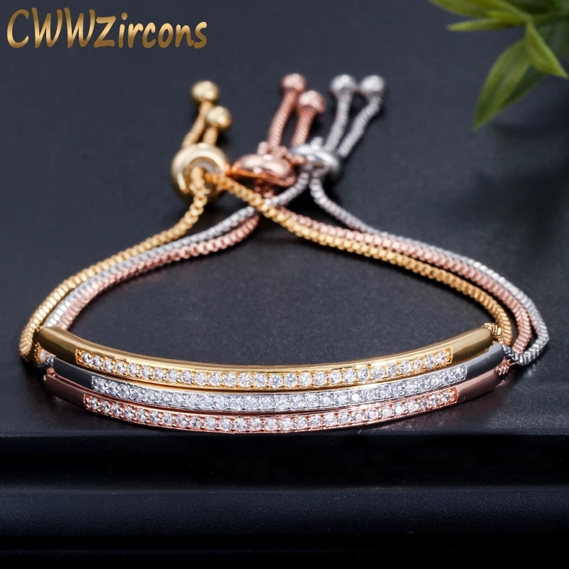 aliexpress - CWWZircons Adjustable Bracelet Bangle for Women Captivate Bar Slider Brilliant CZ Rose Gold Color Jewelry Pulseira Feminia CB089